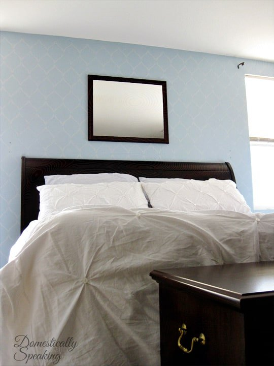 Gorgeous master bedroom stencil with some shimmer paint added to wall color