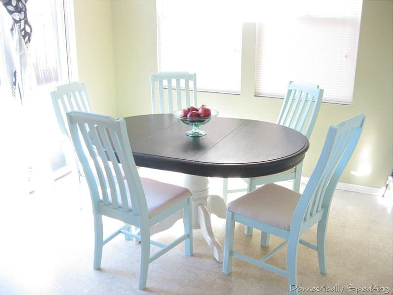 Kitchen nook domestically speaking for Painted kitchen chairs