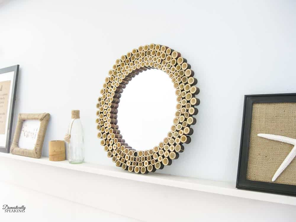 Bamboo Mirror on a ledge shelf