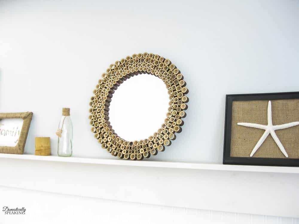 Make a sunburst mirror using bamboo fencing.