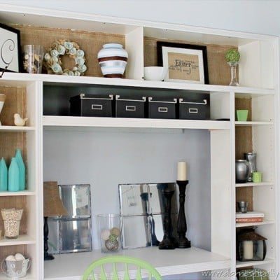 Burlap'ified Bookshelves