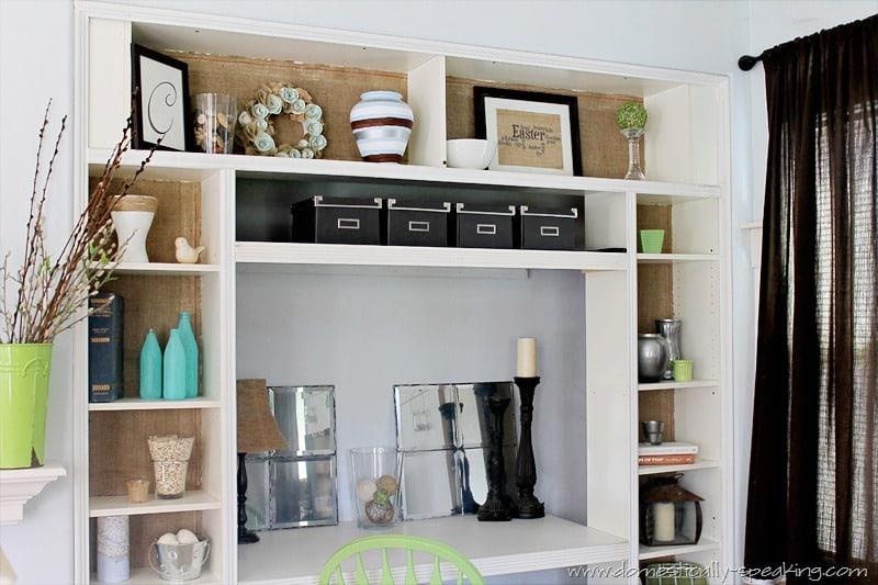 Burlap Bookshelf 3