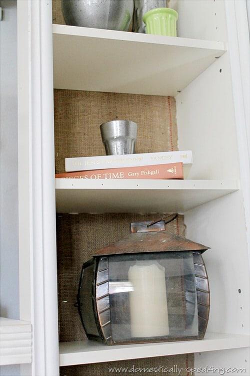 burlap bookshelf 4