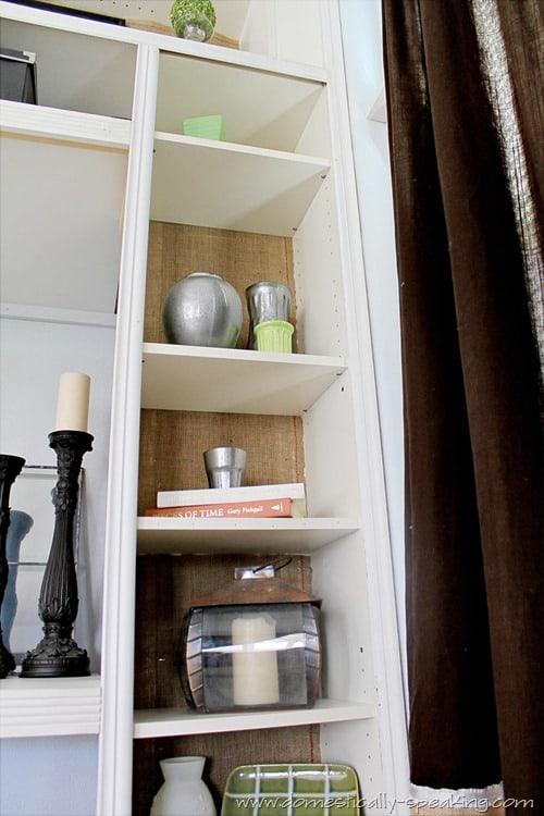 burlap bookshelf 6