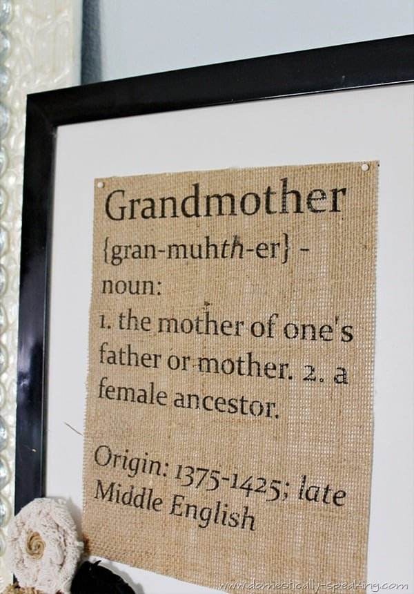 Great gift idea for Mother's Day or Grandparents Day - Grandmother Defined Burlap Sign