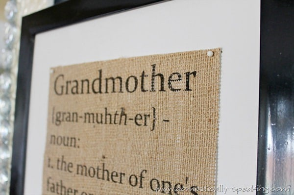 Grandmother Defined Burlap Sign