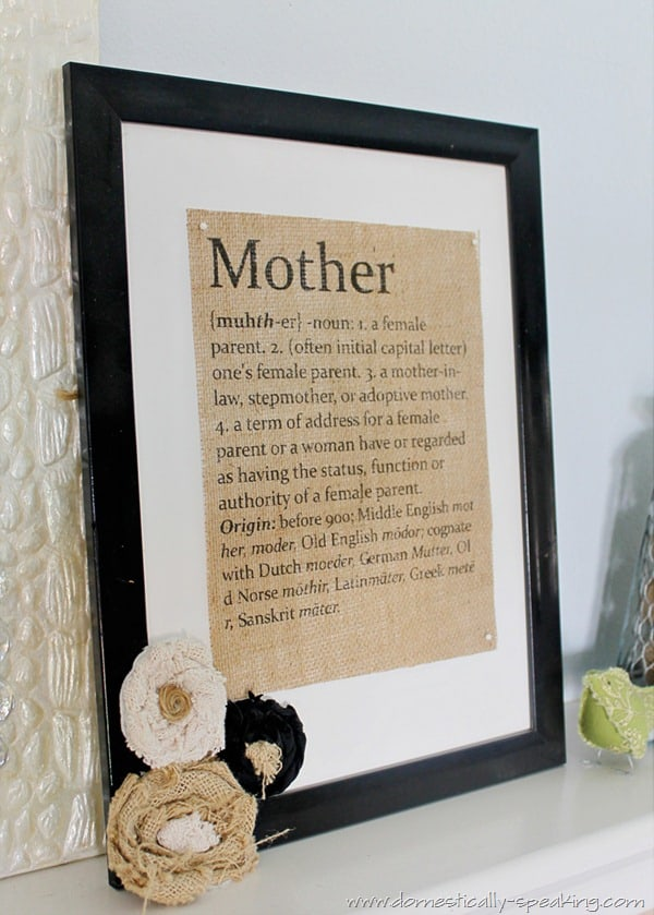 Great Mother's Day Gift Idea - Mother Defined Burlap Sign