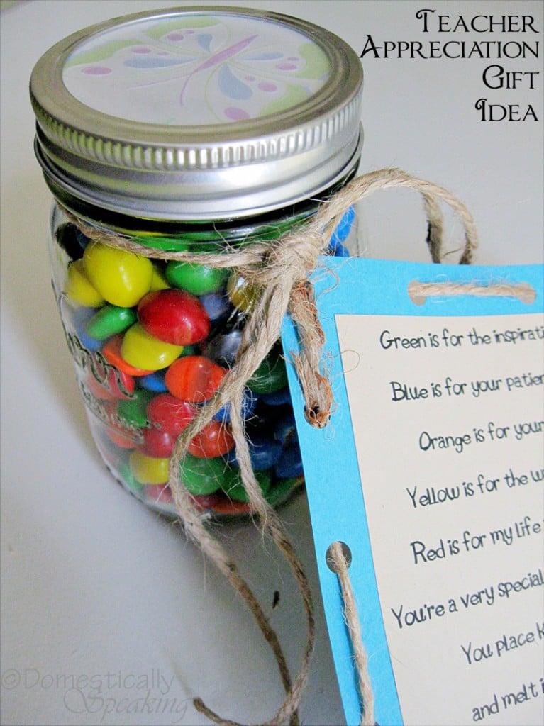 teacher appreciation gift mm candy jar poem