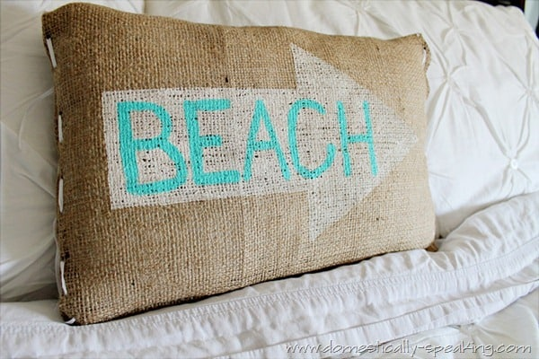 Burlap Painted Beach Arrow Pillow