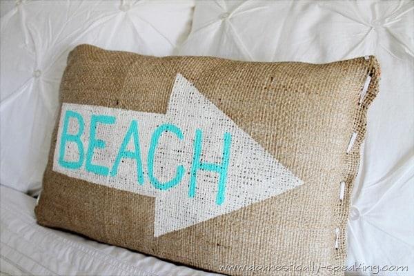 burlap beach pillow 3