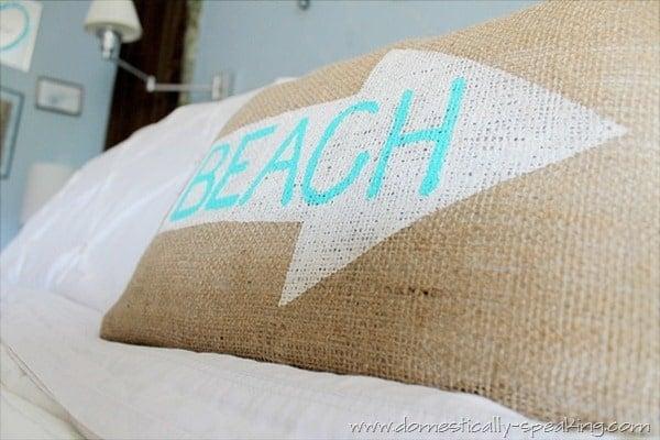 burlap beach pillow 7