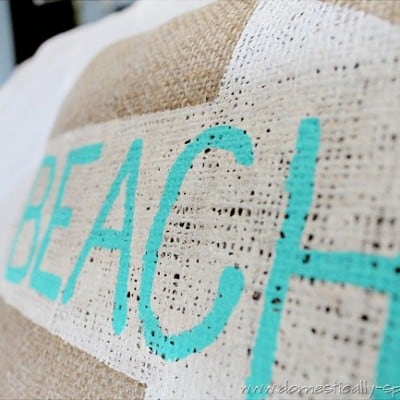 Beach Burlap Pillow