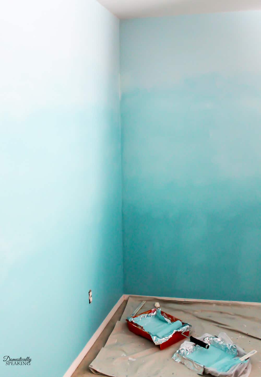 Blending the colors to create an Ombre Bedroom Wall