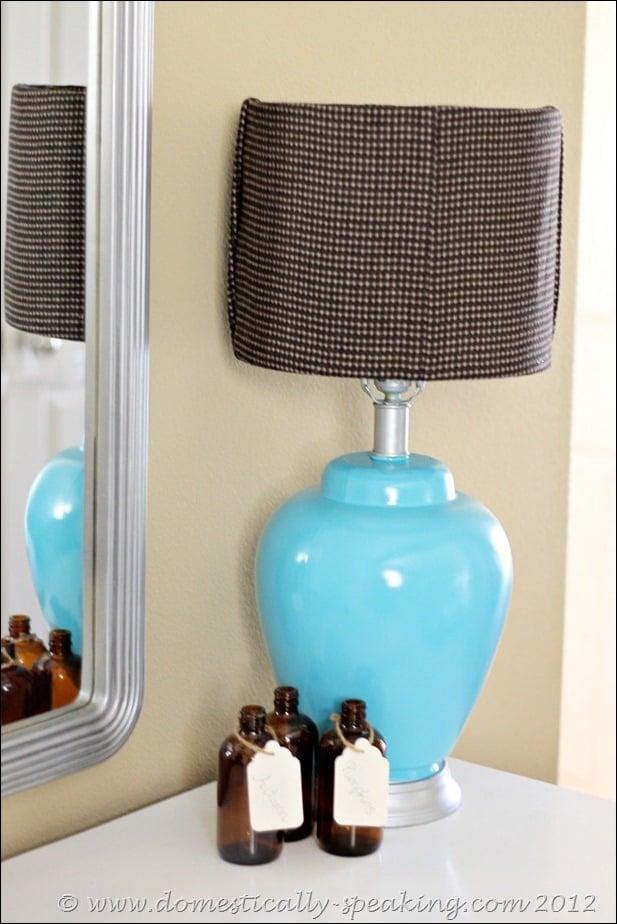 lamp, fabric, glue gun
