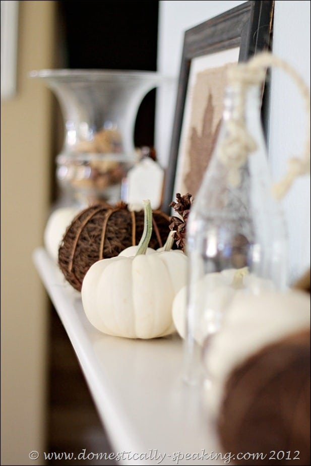 burlap, acorns, white pumpkins, fall