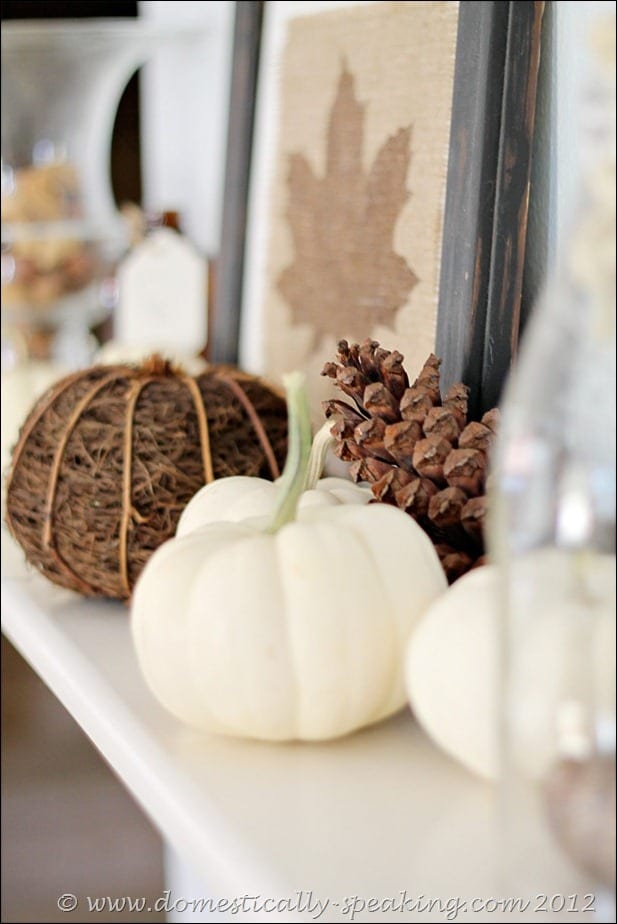 burlap, leaf, white pumpkins, fall