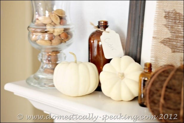 fall, white pumpkins, nuts, acorns, burlap