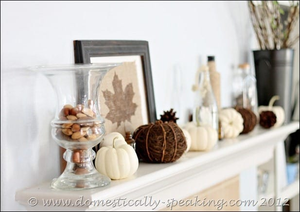 fall, white pumpkins, acorns, burlap, pinecones