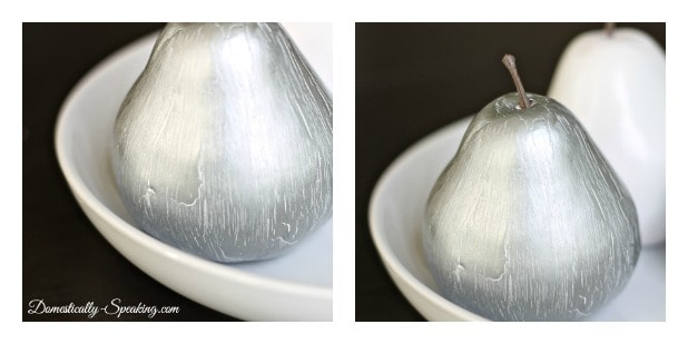 DIY Silver Pear with Paint Crackle Effect - Domestically Speaking