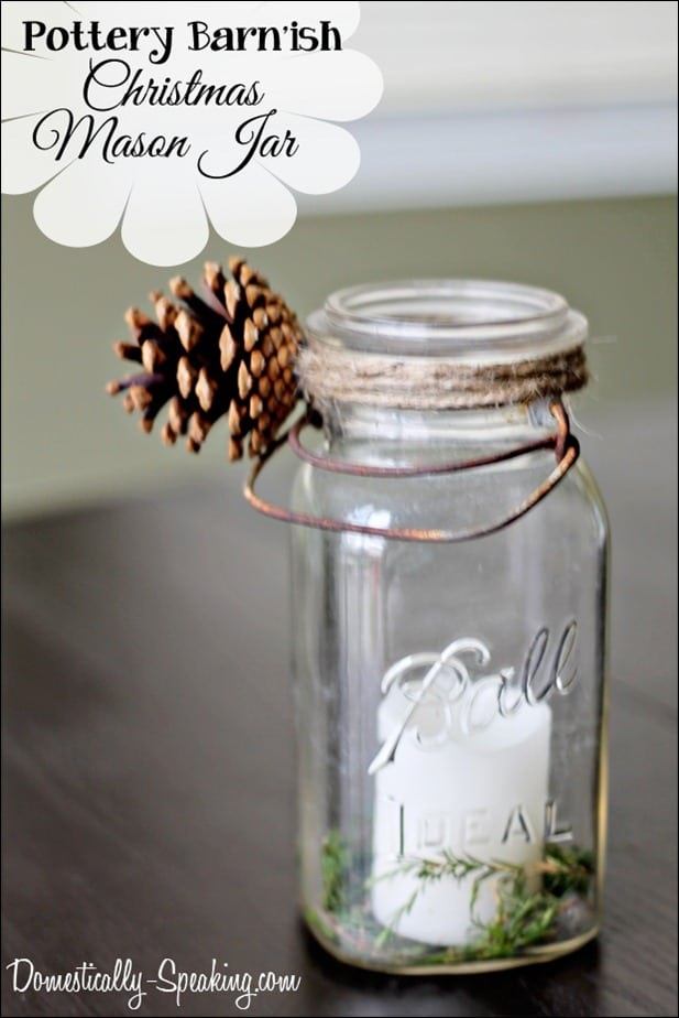 DIY Christmas mason jar with a pinecone, twine and greenery