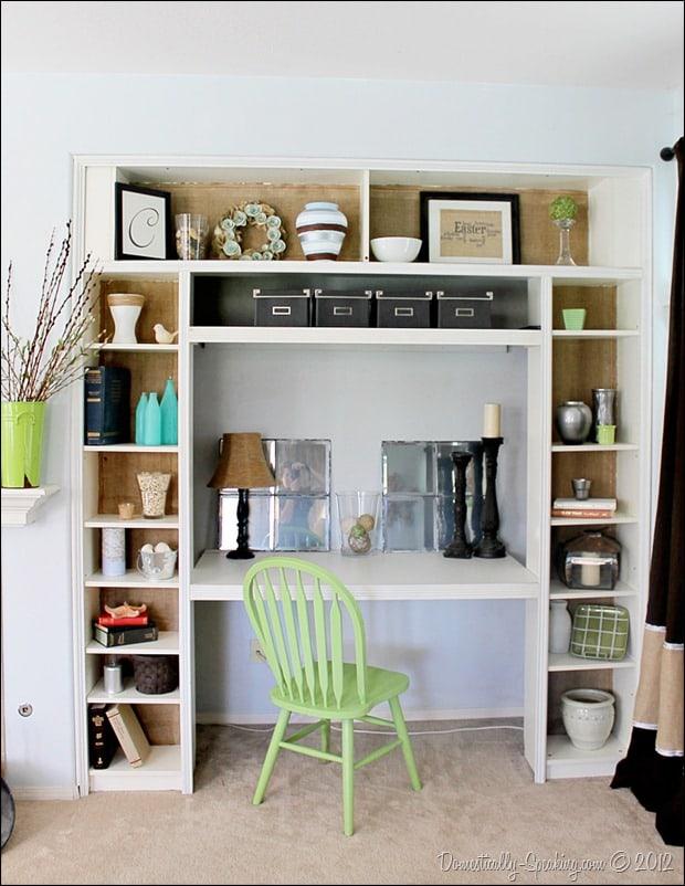 Domestically-Speaking.com: Tutorial on burlaping your bookshelf