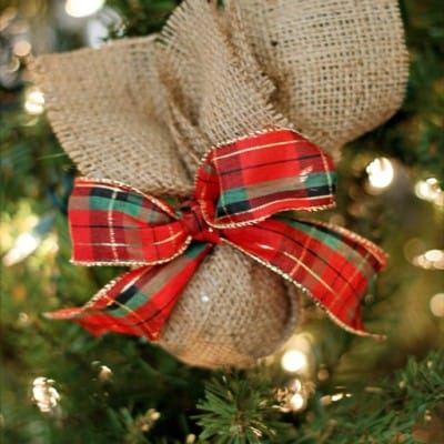 Burlap & Plaid Christmas Ornament