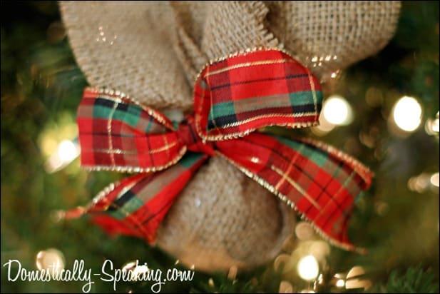 burlap plaid ornament 4