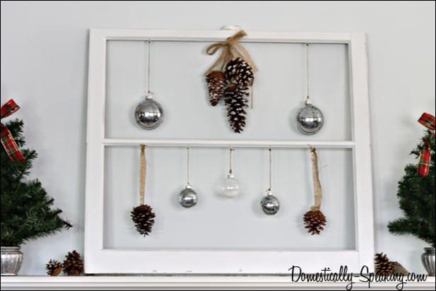 plaid, pine cones, epsom salt, mercury glass