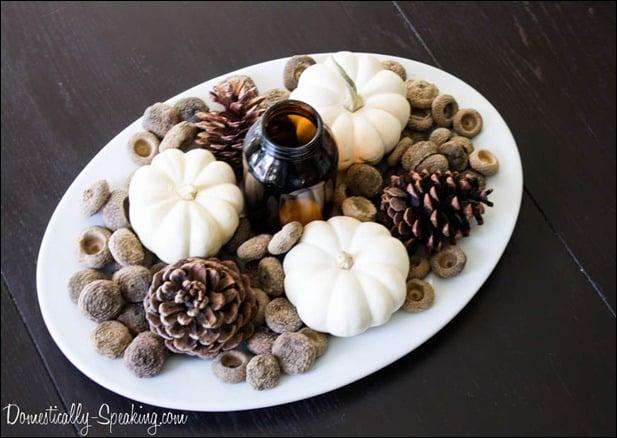 pine cones, acorns, white pumpkins