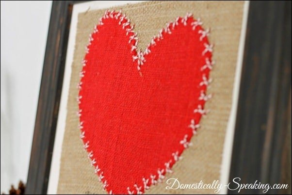Domestically Speaking: Cute burlap and baker's twine art for Valentine's Day