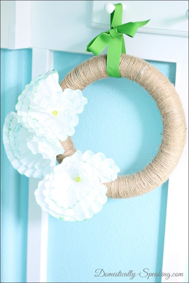Domestically Speaking: coffee filter, twine, flowers, wreath