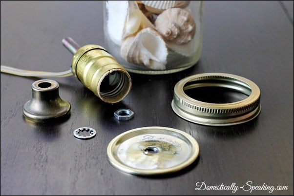 mason jar, lamp, tutorial, shells, kit