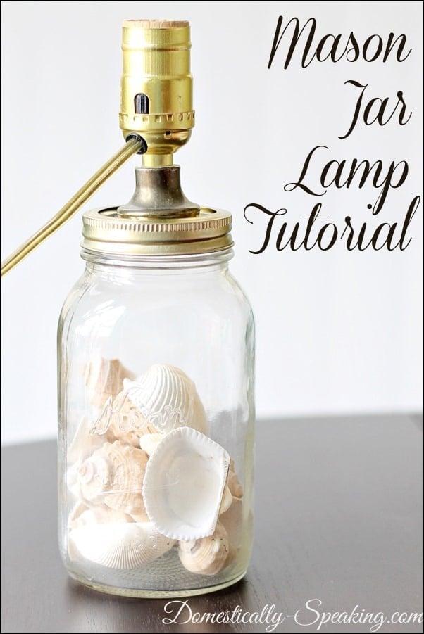 mason jar, lamp, tutorial, shells, kit