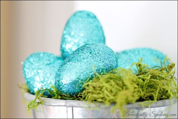 moss, glitter, eggs, twine, starfish, spring, mantel, baker's twine, glitter