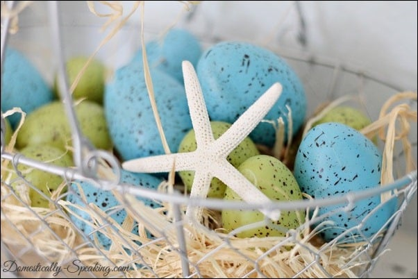 moss, glitter, eggs, twine, starfish, spring, mantel, speckled eggs, target