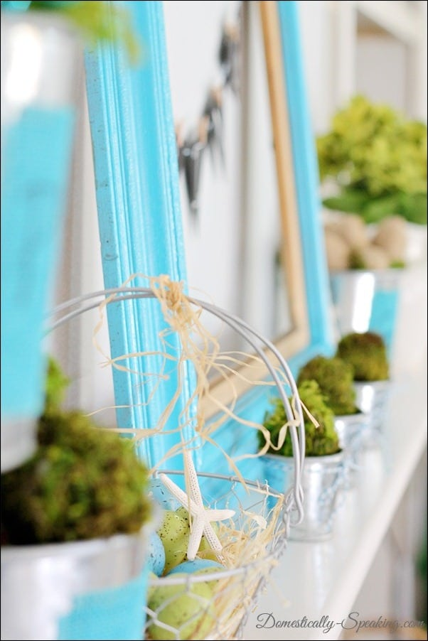 Spring Mantel with blues and greens