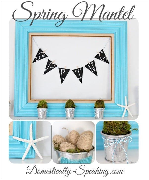 moss, glitter, eggs, twine, starfish, spring, mantel, baker's twine,