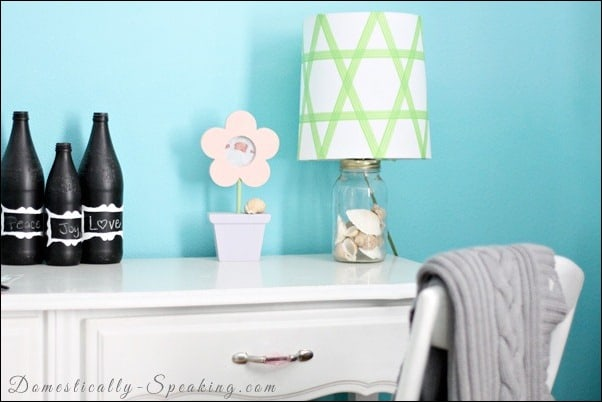 washi, tape, lamp, shade, gree