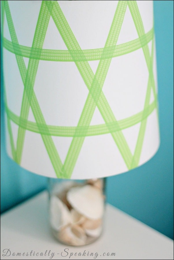 washi, tape, lamp, shade, green
