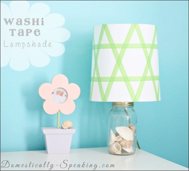 washi, tape, lamp, shade, green, plaid