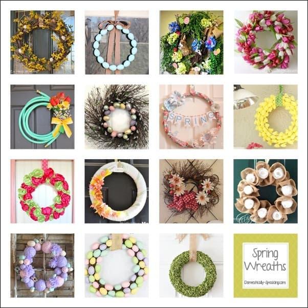 spring, wreaths, moss, grapevine, tulips, burlap, yarn, hose, egg
