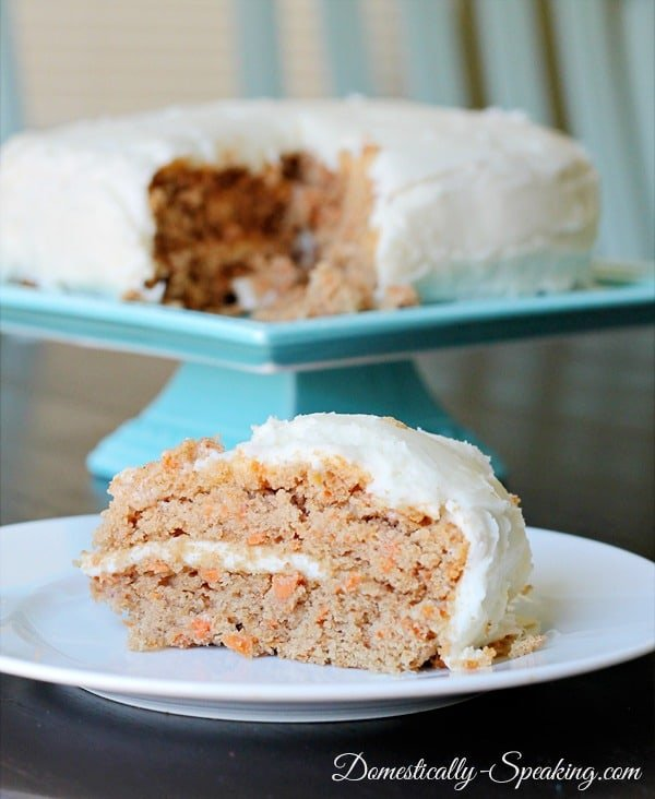 Carrot Spice Cake with Greek Yogurt @ Domestically-Speaking.com