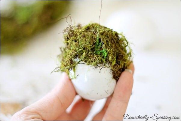 moss, egg, moss egg, mantel, galvanized, baker's twine