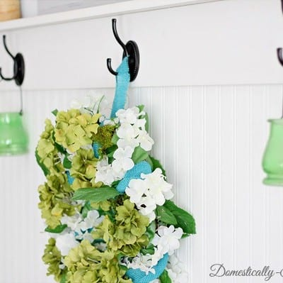 Spring Wreath: Blues, Greens and Burlap