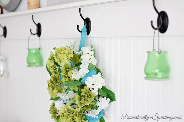 spring, wreath, blue, green, hydraneas, moss, teal, burlap
