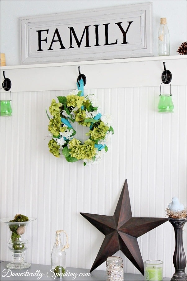 spring, wreath, blue, burlap, flowers, moss, green, hydrangeas
