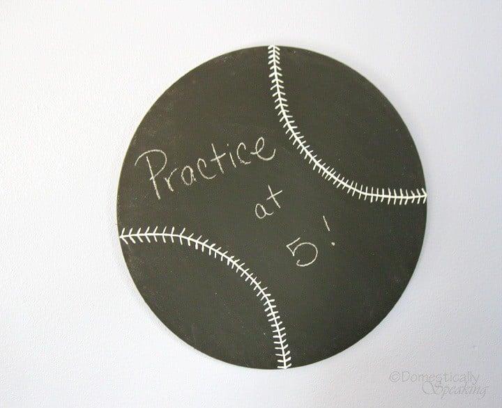 chalkboard, baseball, paint, wood
