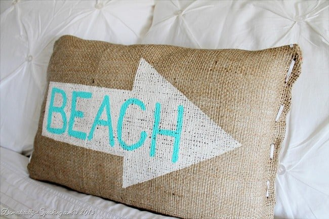 Burlap Beach Pillow with Freezer Paper & Acrylic Paint @ Domestically-Speaking.com