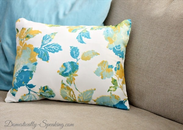 Spring Update with Dish Towel Pillow @ Domestically-Speaking