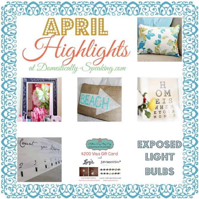 april's projects, pillows, burlap, chalkboard, mother's day goodies and exposed light bulbs